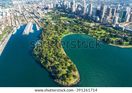 Aerial view Sydney Royal Botanic Gardens. View on Sydney harbourside suburbs from above. Aerial view on Sydney harbourside, Sydney CBD, Sydney Royal Botanic Gardens - stock photo