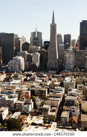 Aerial view the crowed skyline of San Francisco from the north side of the bay - stock photo