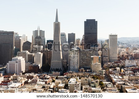 Aerial view the Skyline of San Francisco from the north side of the bay - stock photo