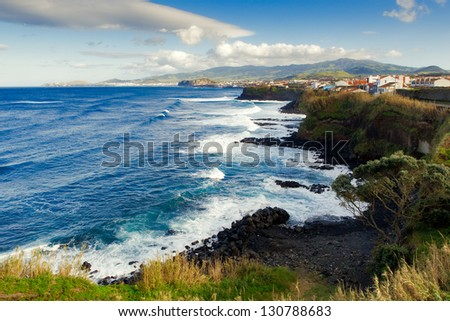 Aerial view to Atlantic ocean shore and mountains, San Miguel, Azores, Portugal
