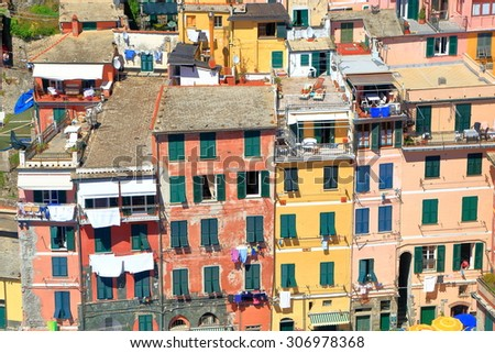 Aerial view to colorful facades of medieval houses in Vernazza village, Cinque Terre, Italy