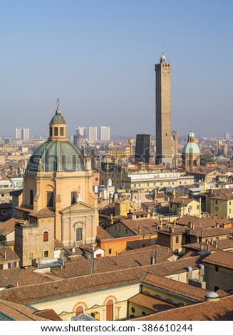 aerial view to dom of cathedral and tower in Italy - stock photo