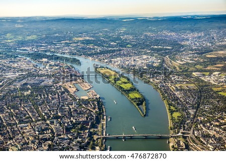 aerial view to Mainz and river Rhine and central bridges