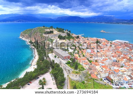 Aerial view to Nafplio old town located on peninsula surrounded by the sea, Greece - stock photo