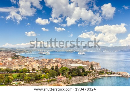 Aerial view to old city buildings from venetian fortress, Kerkyra, Corfu, Greece