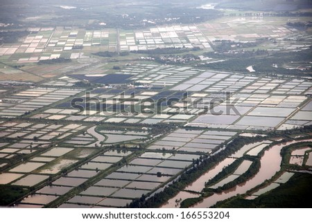 aerial view to Rice fields, south China - stock photo