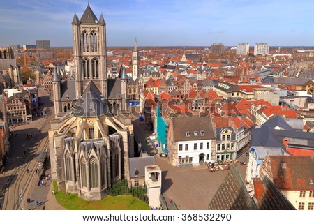 Aerial view to St Nicholas church and historical district of Ghent, Belgium - stock photo