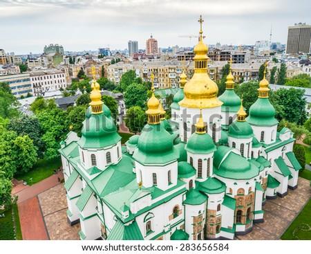 Aerial view to St. Sofia cathedral. Kyiv, Ukraine. - stock photo