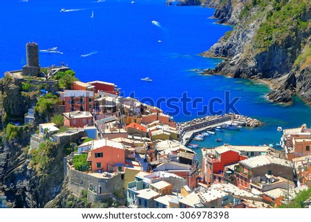 Aerial view to the harbor and old town of Vernazza, Cinque Terre, Italy