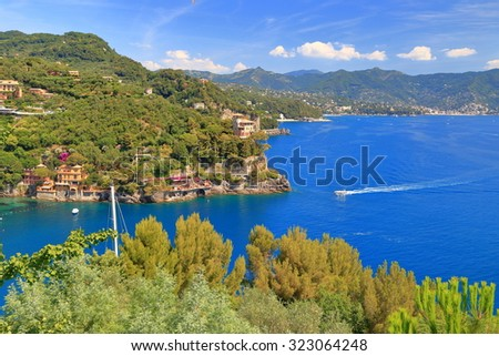 Aerial view to the Mediterranean sea near the old town and harbor of Portofino, Italy