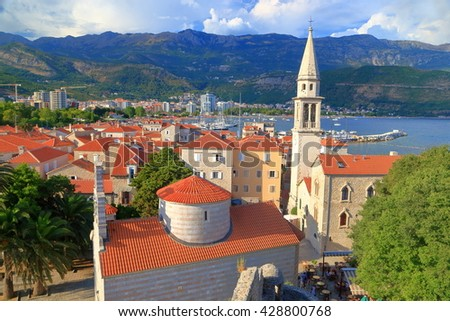 Aerial view to the old town of Budva near the Adriatic sea, Montenegro - stock photo
