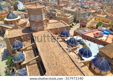 Aerial view to the rooftop of the Metropolitan Cathedral (Basilica of the Assumption of Our Lady of Valencia / Saint Mary's Cathedral / Valencia Cathedral), Valencia, Spain - stock photo