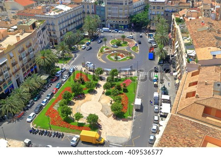 Aerial view to the square in the old center of Valencia, Spain