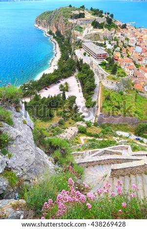 Aerial view to the town of Nafplio as seen from the Palamidi fortress, Greece - stock photo