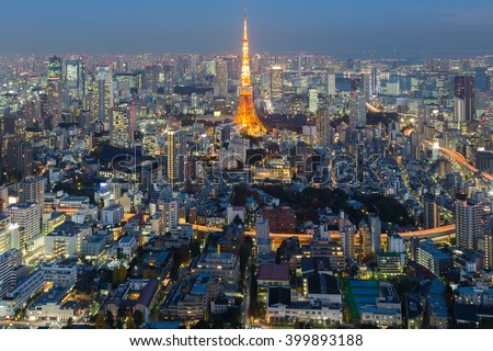 Aerial view Tokyo city skyline night time, Japan - stock photo