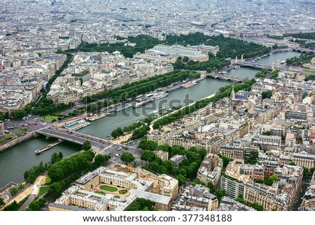 Aerial view toward Seine river from the Eiffel Tower, Paris, France