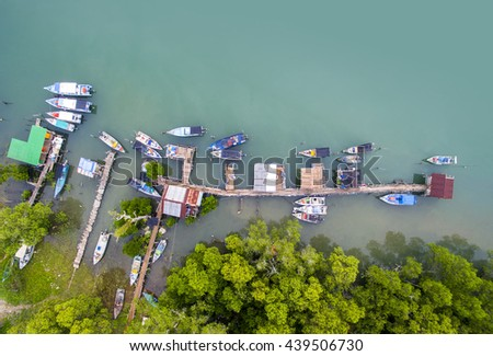 aerial view traditional boat park and jetty - stock photo