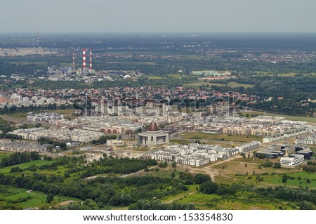 Aerial view - Wilanow district in Warsaw, Poland - stock photo