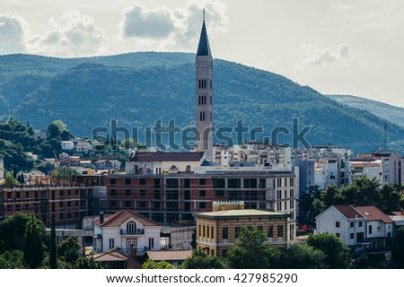 Aerial view with Saint Peter and Paul Franciscan Monastery and Church in Mostar, Bosnia and Herzegovina - stock photo