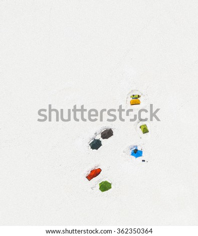 Aerial view with tents in  the  mountains .Tourism background. - stock photo