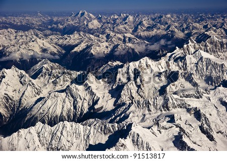 Aerial views in Tibet fly over to mountain Himalaya - stock photo