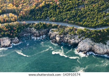 Aerial views of coastline surrounding Acadia National Park, Maine in autumn - stock photo