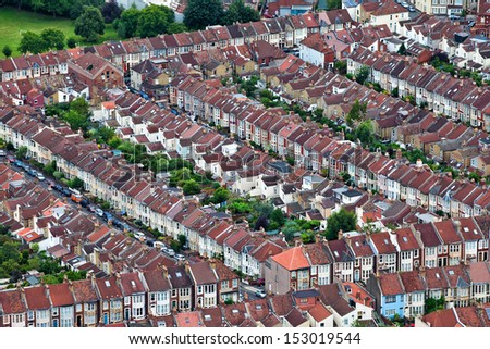 Aerial views of houses - stock photo