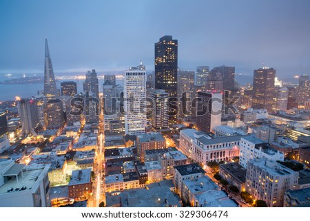 Aerial Views of San Francisco Financial District from Nob Hill, Dusk - stock photo