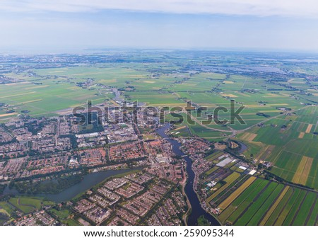 Aerial vista of the residential area at Amsterdam Schiphol Airport - stock photo