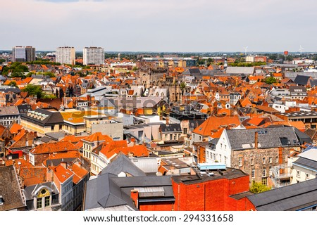 Aerieal view of the historic part of Ghent, Belgium.