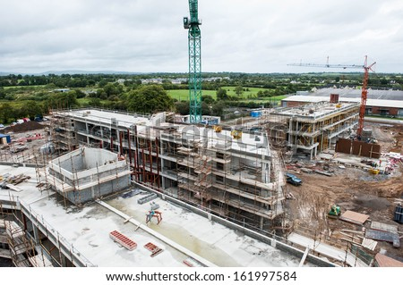 Aeriel of a building site in Ireland. - stock photo