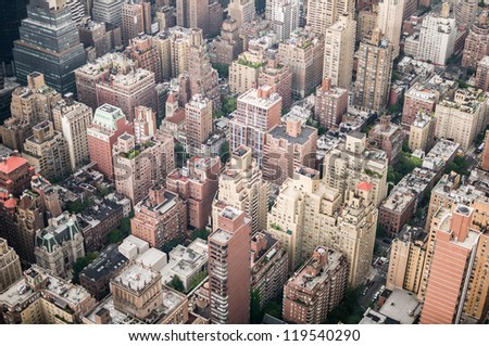 Aeriel shot of New York City buildings in Manhattan. - stock photo