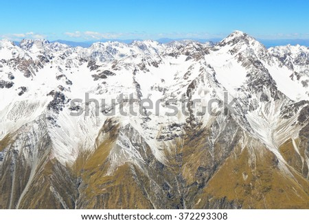 Aeriel view of Aoraki/Mount Cook National Park, South Island, New Zealand