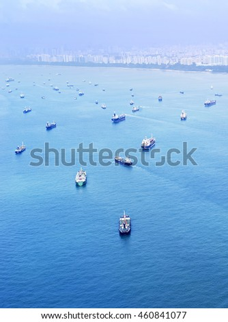 Aeril view of the cargo ships in Singapore harbor