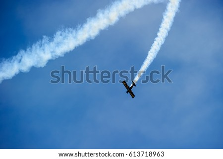 Aerobatic performs flight at air show festival in Salinas, California 2016