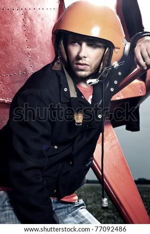 Aerobatic pilot - stock photo