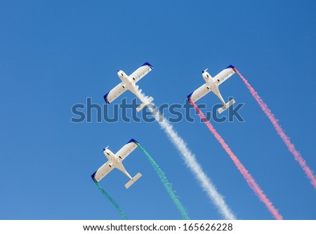 Aerobatic team in formation - stock photo