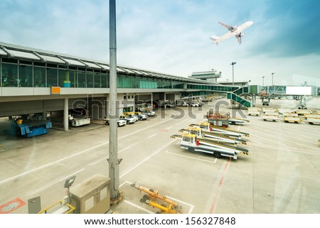 aerobridge at airport - stock photo