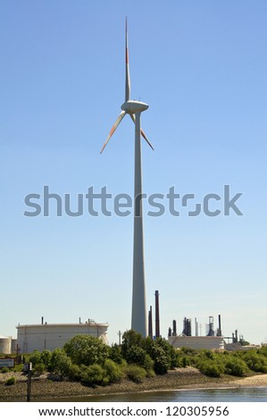 Aerofoil-powered generator, popular named, wind turbine, in the Hamburg harbor district. Wind farms are becoming an increasingly important source of renewable energy