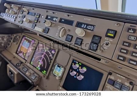 Aeroplane cockpit close up - stock photo