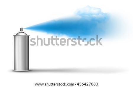 Aerosol can spraying blue paint cloud on white backround - stock photo