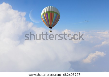 Aerostat flying above clouds