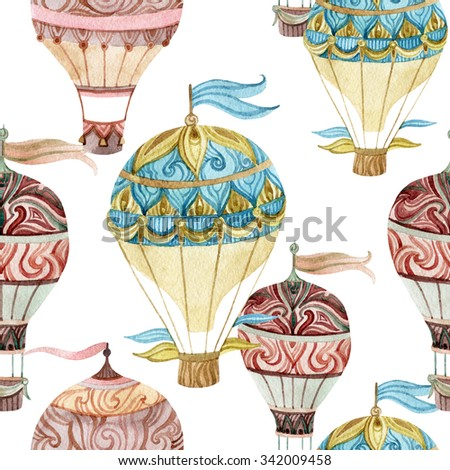 Aerostat vintage seamless pattern. Watercolor hot air balloons. Hand painted illustrations on white background - stock photo