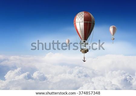 Aerostats flying high - stock photo