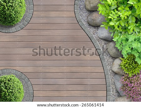 aesthetic garden design detail with rocks in aerial view - stock photo
