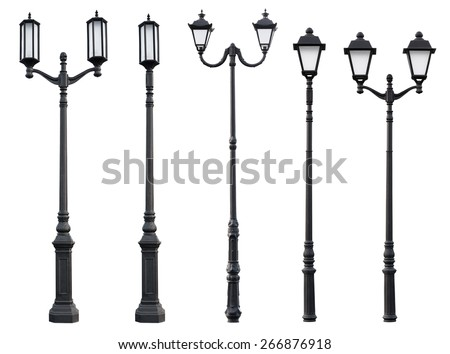 Aet of Old Vintage Street Lamp Post Lamppost Light Pole isolated on white - stock photo