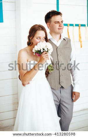 Affecting Moment of Wedding Day. Groom and Bride Together. - stock photo