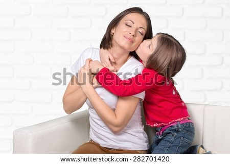 Affection, affectionate, bed. - stock photo