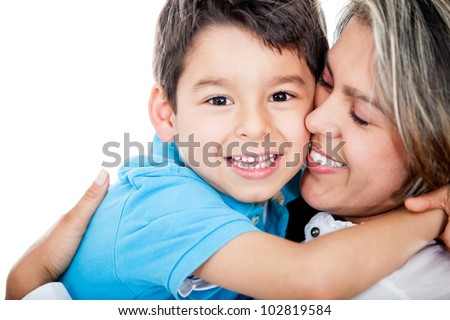 Affectionate mother and son - isolated over a white background - stock photo