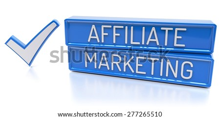 Affiliate Marketing - Blue banners with check mark - Isolated 3D Render - stock photo